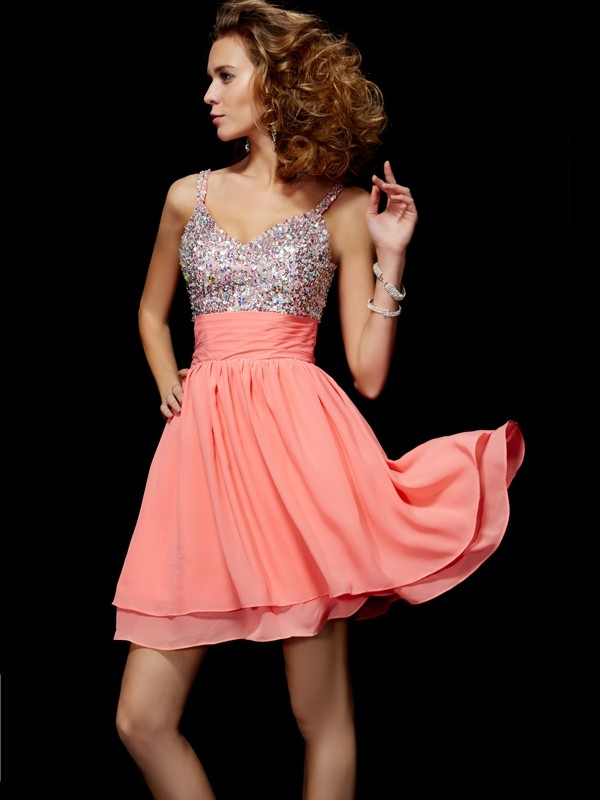 A-Line/Princess V-neck Beading Homecoming Dress with Chiffon
