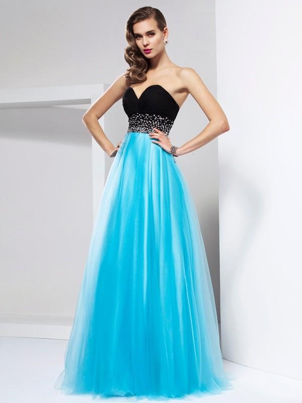 A-Line/Princess Sweetheart Sleeveless Long Net Dresses