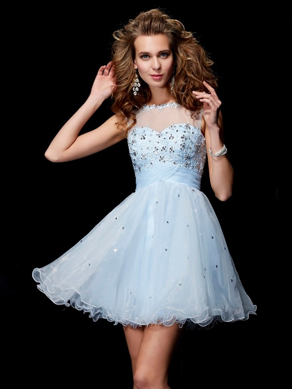 A-Line/Princess Scoop Beading Sleeveless Elastic Woven Satin Homecoming Dresses