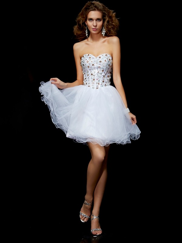 Sheath/Column Sweetheart Sleeveless Crystal Elastic Woven Satin Homecoming Dresses