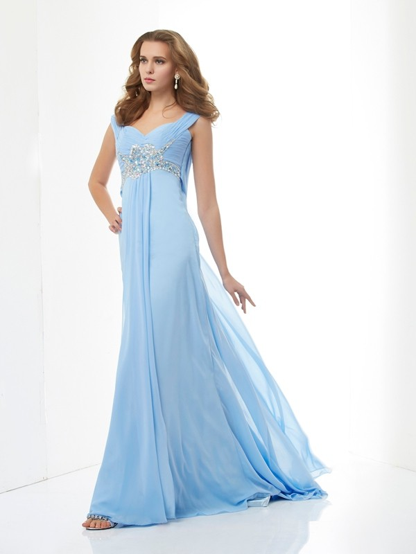A-Line/Princess Beading Sleeveless Sweetheart Long Chiffon Dresses