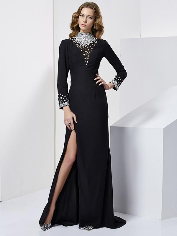 Sheath/Column Long Sleeves Long Chiffon Dresses