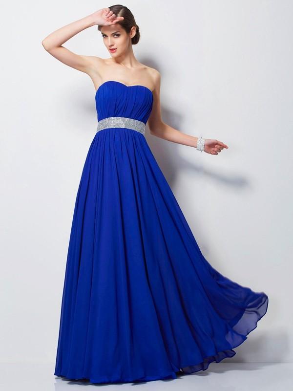 Empire Sweetheart Beading Sleeveless Long Chiffon Dresses