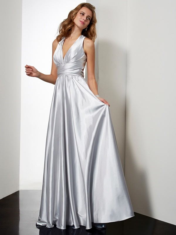 Sheath/Column Halter Sleeveless Pleats Long Elastic Woven Satin Dresses
