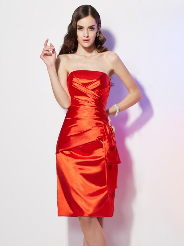 Sheath/Column Strapless Sleeveless Pleats Elastic Woven Satin Dresses
