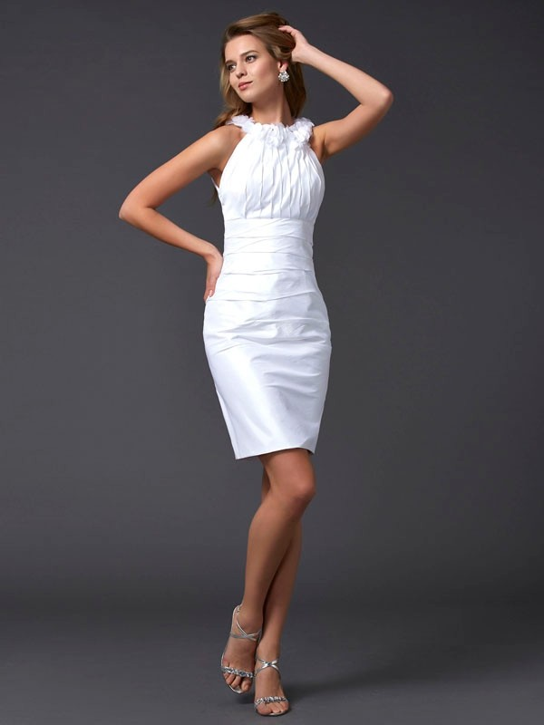 Sheath/Column Sleeveless Hand-Made Flower Short Taffeta Homecoming Dresses