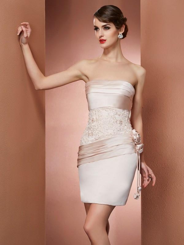 Sheath/Column Strapless Sleeveless Hand-Made Flower Short Satin Homecoming Dresses