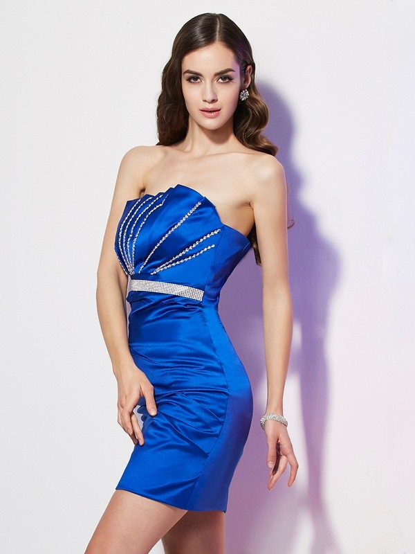 Sheath/Column Strapless Beading Sleeveless Short Satin Homecoming Dresses