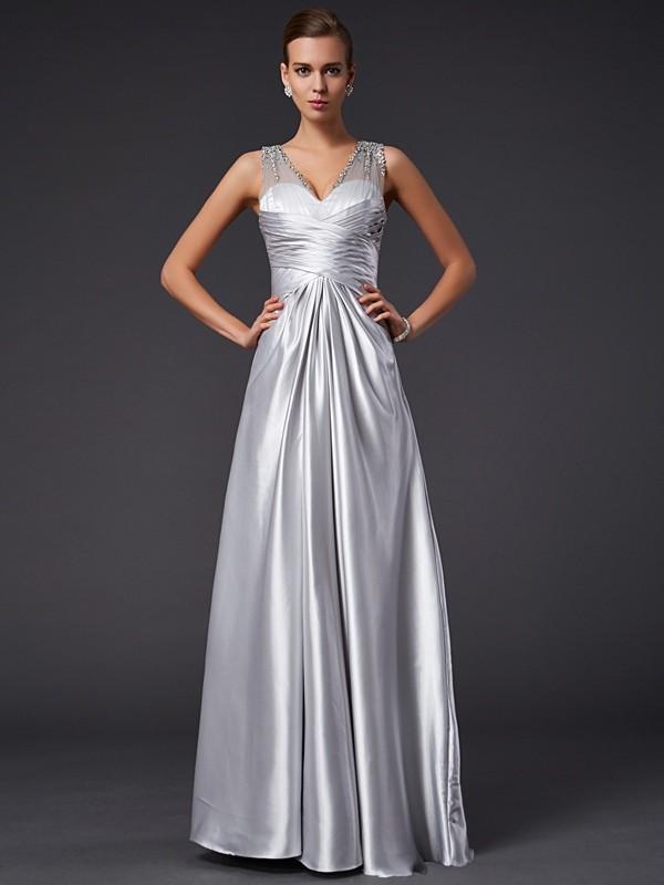 A-Line/Princess V-neck Beading Sleeveless Long Elastic Woven Satin Dresses