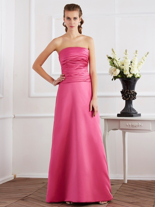 Sheath/Column Strapless Sleeveless Pleats Long Satin Dresses