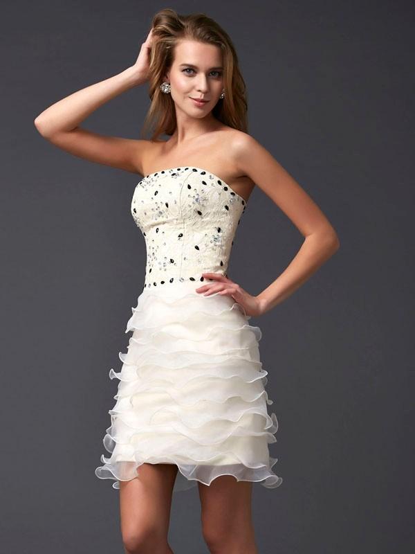 Sheath/Column Strapless Beading Sleeveless Short Tulle Homecoming Dresses