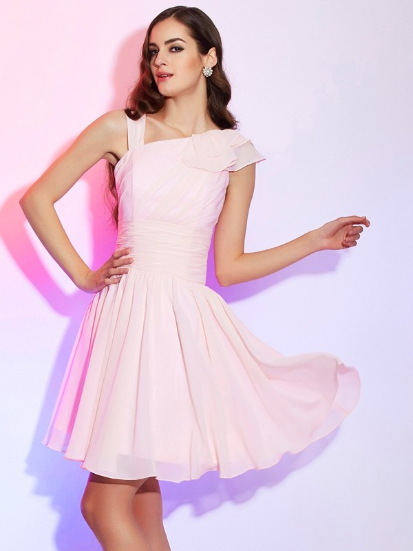 A-Line/Princess Sleeveless Pleats Short Chiffon Homecoming Dresses