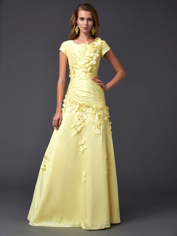Sheath/Column Scoop Short Sleeves Long Taffeta Dresses