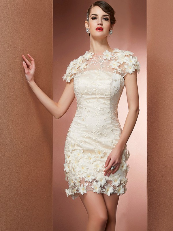 Sheath/Column Short Sleeves Short Satin Homecoming Dresses