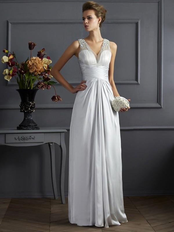 A-Line/Princess Straps Beading Sleeveless Long Silk like Satin Dresses