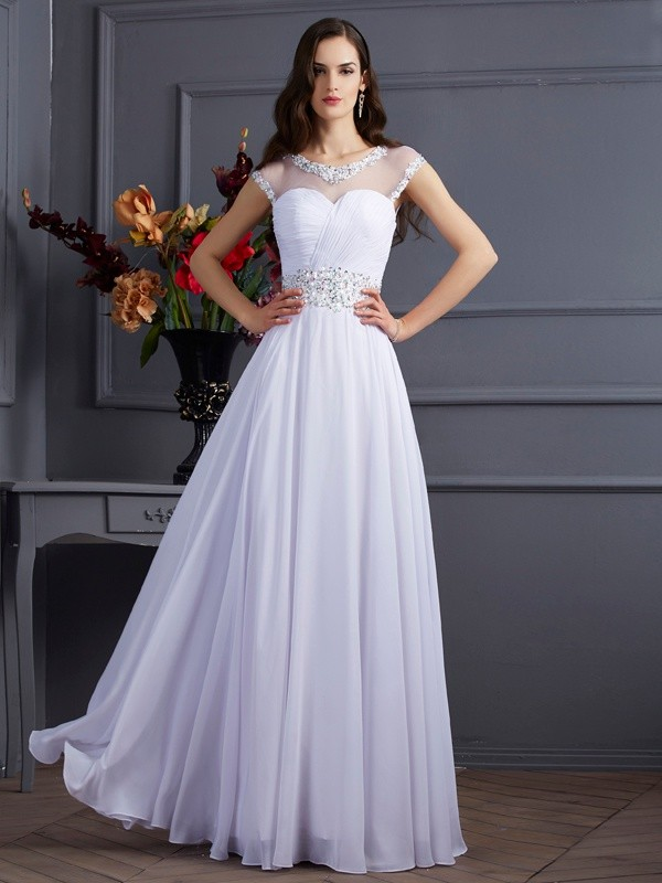 A-Line/Princess Bateau Short Sleeves Beading Long Chiffon Dresses