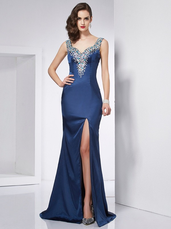 Trumpet/Mermaid Straps Beading Sleeveless Long Elastic Woven Satin Dresses