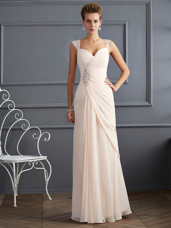 Sheath/Column Straps Beading Sleeveless Long Chiffon Dresses