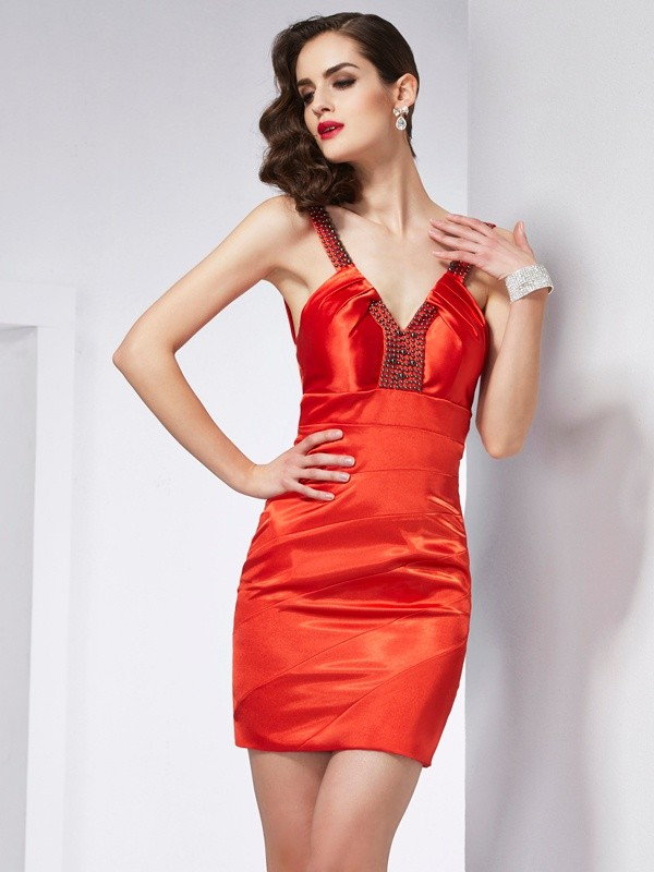 Sheath/Column V-neck Beading Sleeveless Elastic Woven Satin Homecoming Dresses