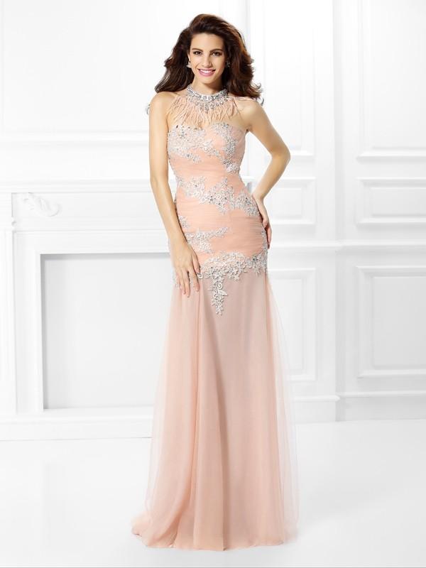 Trumpet/Mermaid Sweetheart Applique Sleeveless Long Chiffon Dresses