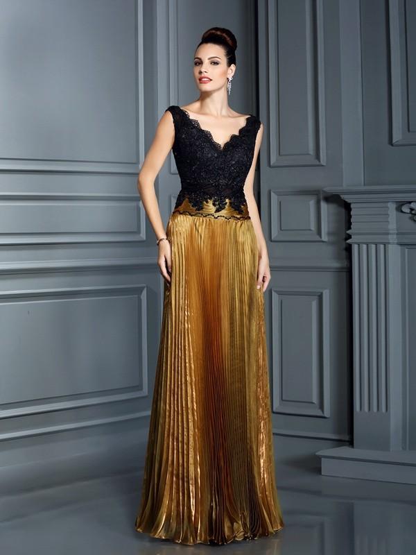 Sheath/Column V-neck Pearls Sleeveless Long Organza Dresses