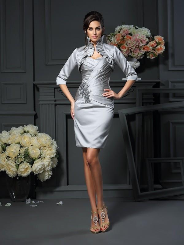 Sheath/Column Sweetheart Beading Sleeveless Short Satin Mother of the Bride Dresses