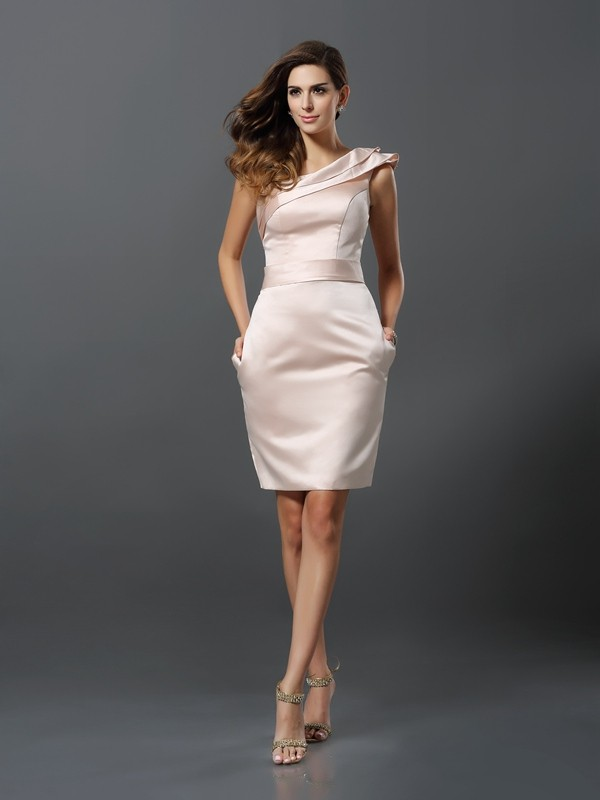 Sheath/Column One-Shoulder Sleeveless Short Satin Cocktail Dresses