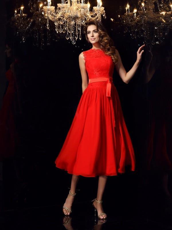 A-Line/Princess Sleeveless Short Chiffon Dresses