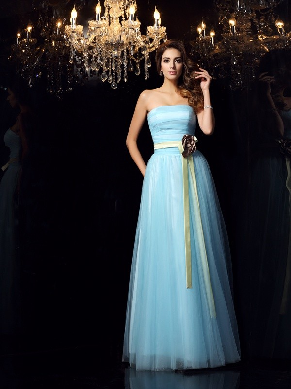 Ball Gown Strapless Sleeveless Long Satin Quinceanera Dresses