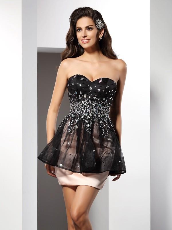Sheath/Column Sweetheart Sleeveless Short Satin Cocktail Dresses