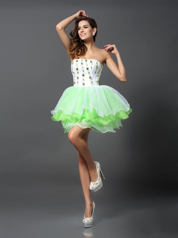 A-Line/Princess Strapless Ruffles Sleeveless Short Organza Cocktail Dresses