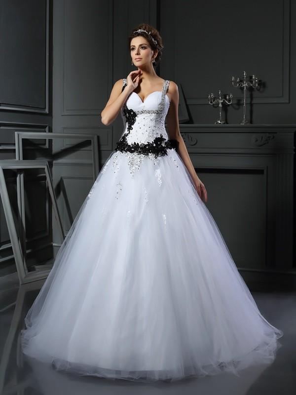 Ball Gown Straps Beading Sleeveless Long Tulle Wedding Dresses