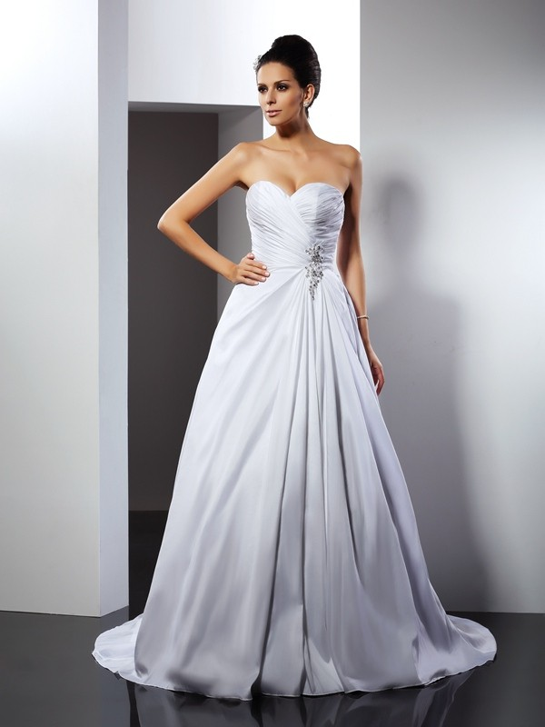 A-Line/Princess Sweetheart Ruffles Sleeveless Court Train Long Taffeta Wedding Dresses
