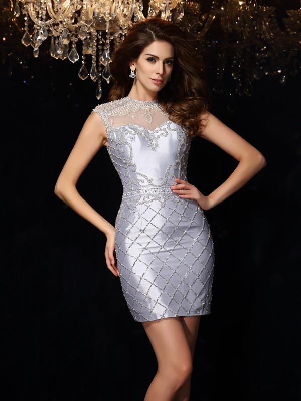 Sheath/Column Beading Sleeveless Short Taffeta Cocktail Dresses