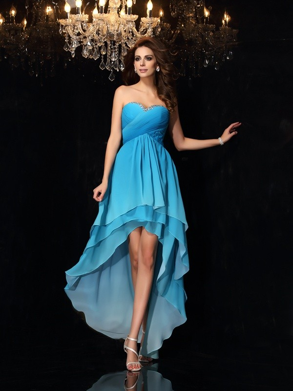 A-Line/Princess Sweetheart Ruched Sleeveless High Low Chiffon Dresses