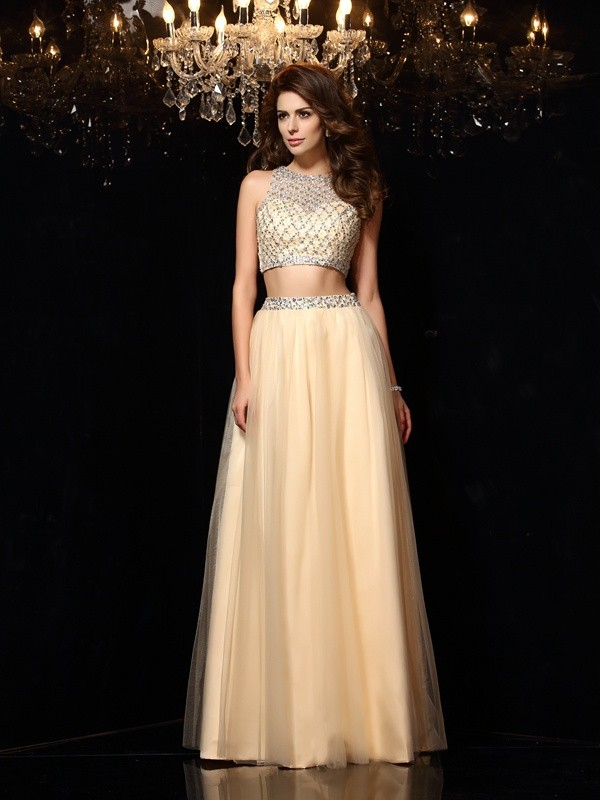 A-Line/Princess Beading Sleeveless Long Net Two Piece Dresses