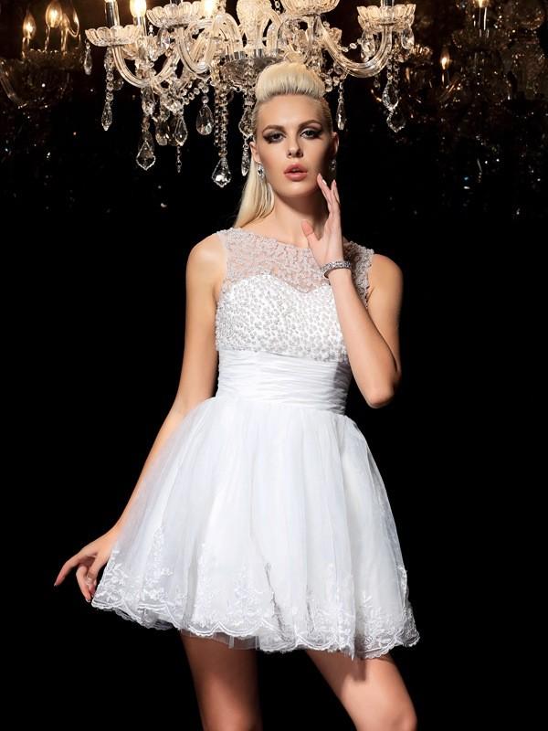A-Line/Princess Sheer Neck Beading Sleeveless Elastic Woven Satin Cocktail Dresses