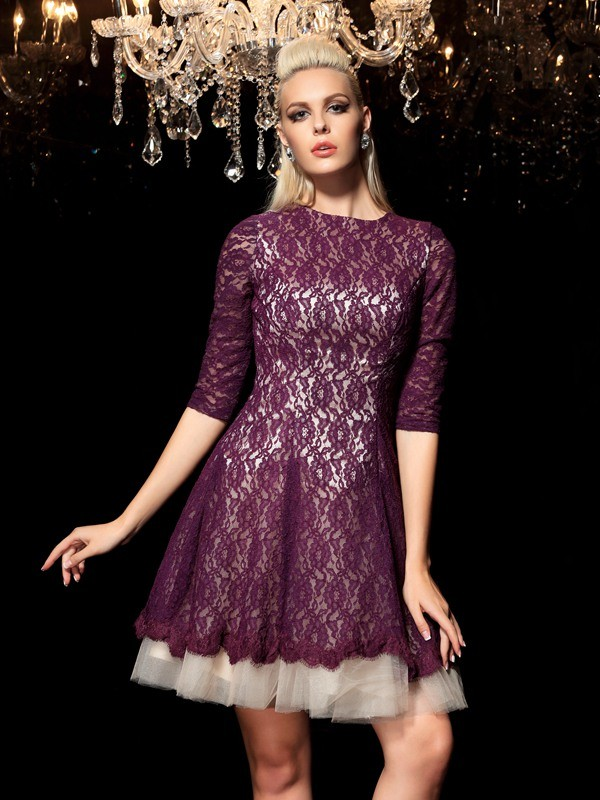 A-Line/Princess Sheer Neck Lace 1/2 Sleeves Short Lace Cocktail Dresses