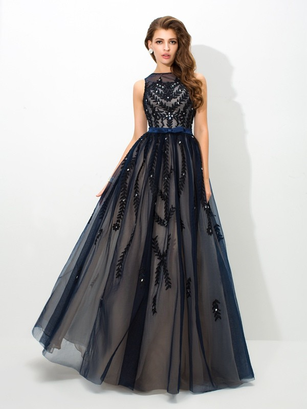 A-Line/Princess Sheer Neck Applique Sleeveless Long Tulle Dresses