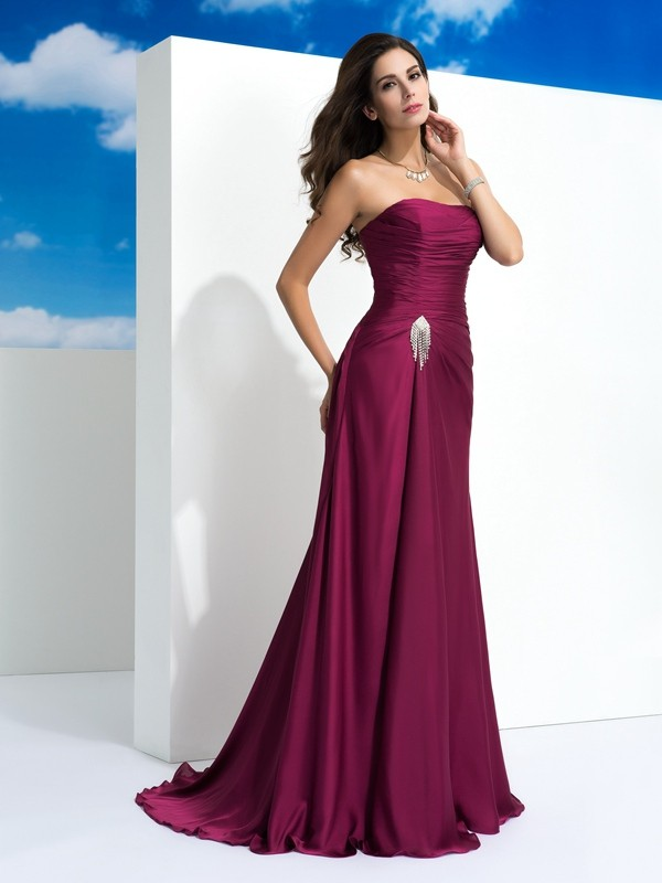 A-Line/Princess Strapless Pleats Sleeveless Long Satin Chiffon Dresses