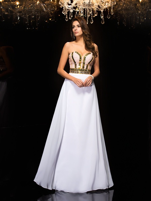 A-Line/Princess Sweetheart Sequin Sleeveless Long Chiffon Dresses