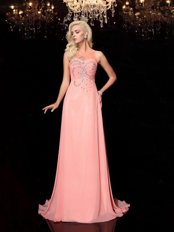 A-line/Princess Scoop Beading Chiffon Dress