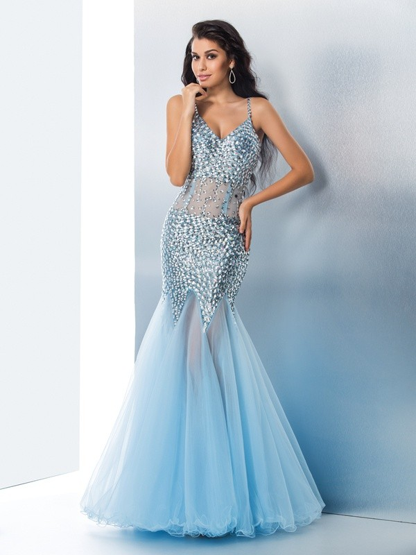Trumpet/Mermaid Spaghetti Straps Sequin Long Organza Dress