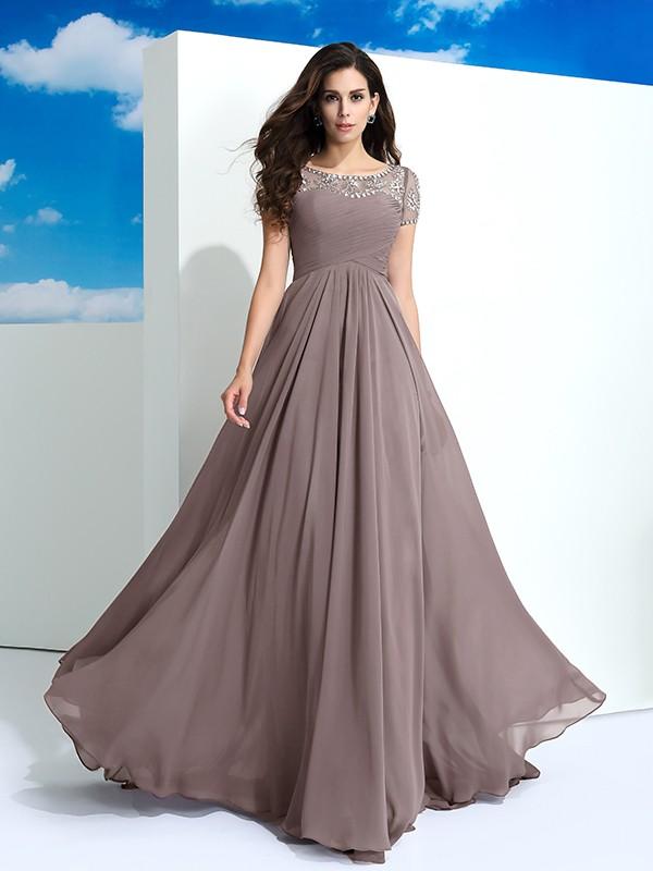 A-Line/Princess Sheer Neck Beading Short Sleeves Chiffon Dress