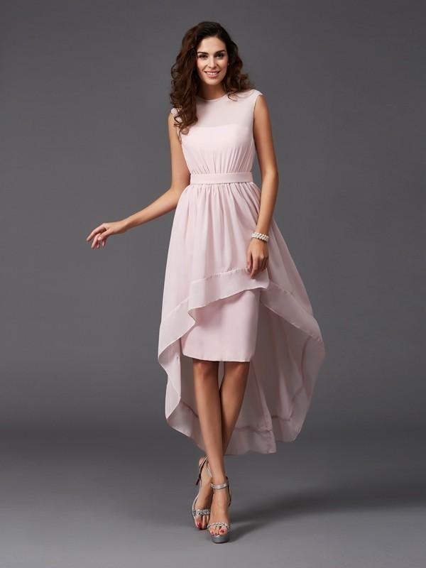 A-Line/Princess Scoop Sash/Ribbon/Belt High Low Chiffon Bridesmaid Dress