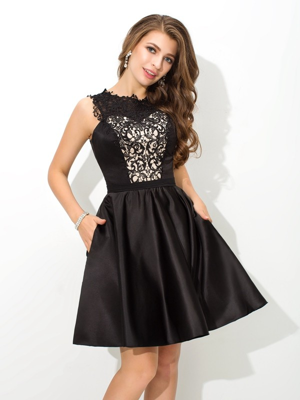 A-Line/Princess Scoop Lace Satin Cocktail Dress