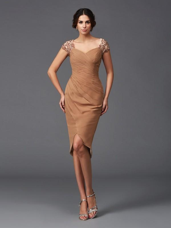 Sheath/Column Sweetheart Applique High Low Chiffon Cocktail Dress