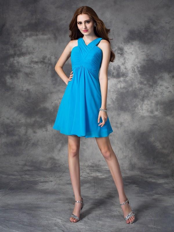 A-line/Princess V-neck Ruffles Short Silk like Satin Dress