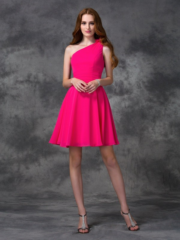 A-line/Princess One-Shoulder Short Chiffon Dress