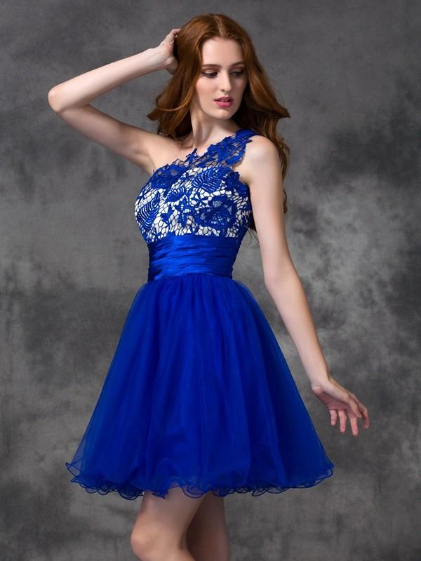 A-line/Princess One-Shoulder Lace Satin Dress